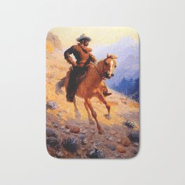 """William Leigh Western Art """"Looking For Strays"""" Bath Mat"""