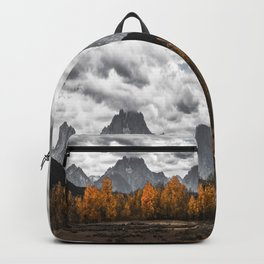 Teton Fall - Autumn Colors and Grand Tetons in Black and White Backpack