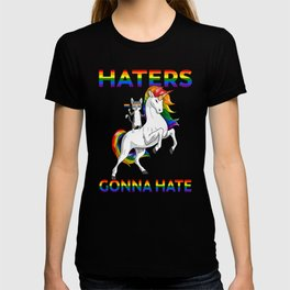 LGBT Gay Pride Cat Kitty Riding Unicorn Haters Gonna Hate T-shirt