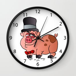 Cartoon Pig in the top hat Wall Clock