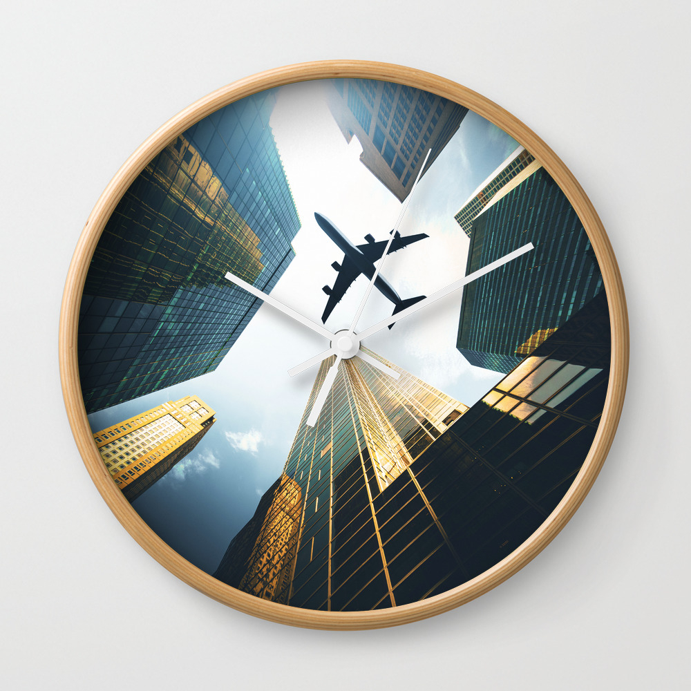 Airplane In Nyc Clock by Franckreporter CLK7924807