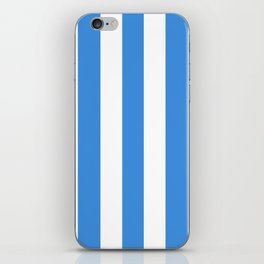 Tufts blue - solid color - white vertical lines pattern iPhone Skin