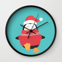 Little Penguin in Ugly Christmas Sweaters Wall Clock