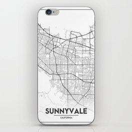 Minimal City Maps - Map Of Sunnyvale, California, United States iPhone Skin