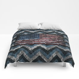 Blue Military Digital Camo Pattern with American Flag Comforters