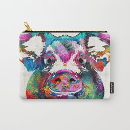 Colorful Pig Art - Squeal Appeal - By Sharon Cummings Carry-All Pouch