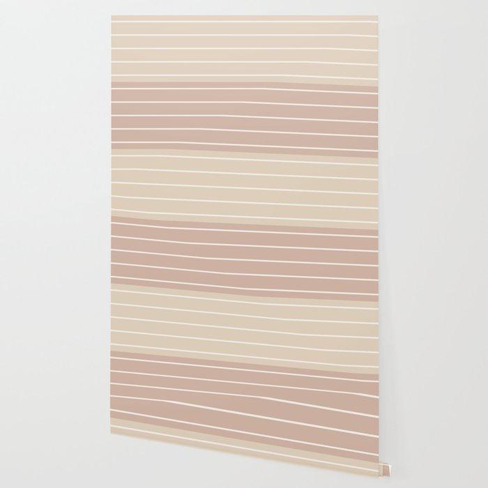 Two Tone Stripes - Warm Neutral Wallpaper