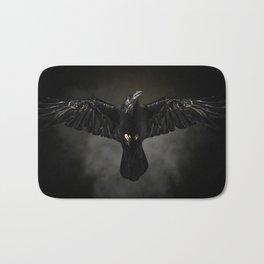 Black raven, crow flight Bath Mat