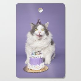 Happy Birthday Fat Cat In Party Hat With Cake Cutting Board