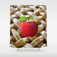 pie Shower Curtains featuring apple pie by store2u
