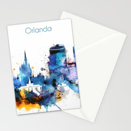 Watercolor Orlando skyline design Stationery Cards