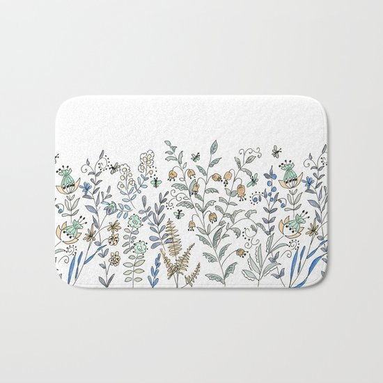 Watercolor pattern . The flowers of the field . 2 Bath Mat