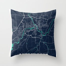 Sherbrooke Blue Dark Color City Map Throw Pillow