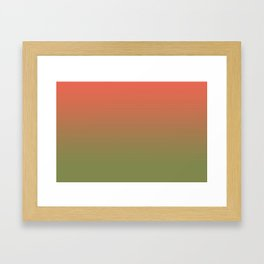 Pantone Living Coral & Turtle Green Gradient Ombre Blend Framed Art Print