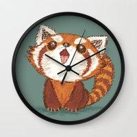 red panda Wall Clocks featuring Red panda by Toru Sanogawa