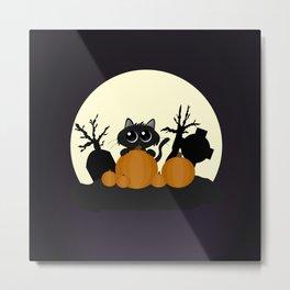 Halloween Black Cat with Pumpkins in a Graveyard Metal Print
