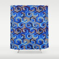 60s Shower Curtains featuring Back in the 60s deep blue by MehrFarbeimLeben