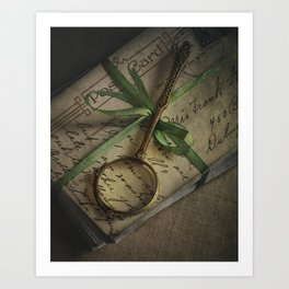 Old style loupe and vintage letters Art Print
