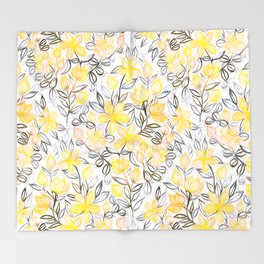 Sunny Yellow Crayon Striped Summer Floral Throw Blanket
