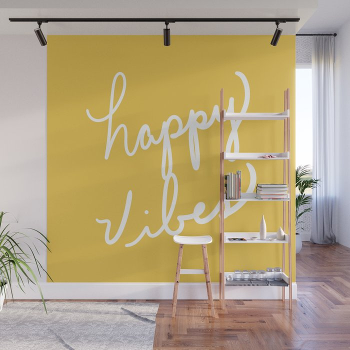 Happy Vibes Yellow Wall Mural