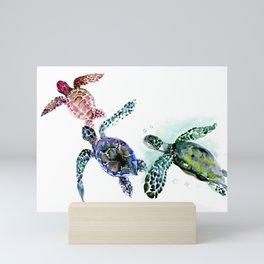 Sea Turtle Family, family art Mini Art Print