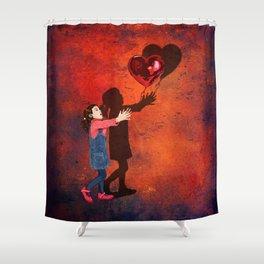 Little girl catch a balloon Shower Curtain