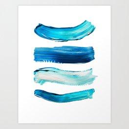 Blue Swash Paint Print Art Print