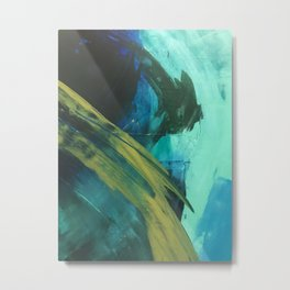 Align: a bold, abstract minimal piece in blues and greens Metal Print