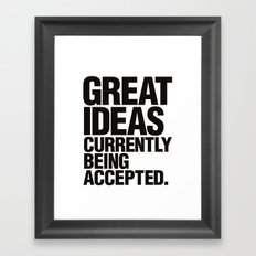 Great Ideas Typography Quote  Framed Art Print
