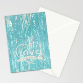 Maritime Design - Love is my anchor on teal grunge wood background Stationery Cards