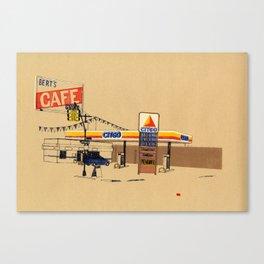 Berts Cafe screenprint Canvas Print