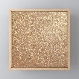Copper Rose Gold Metallic Glitter Framed Mini Art Print