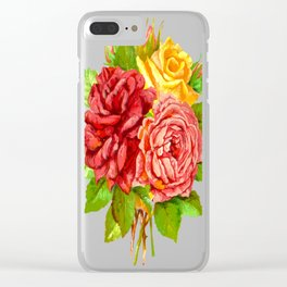 Rose Flower Bouquet Clear iPhone Case