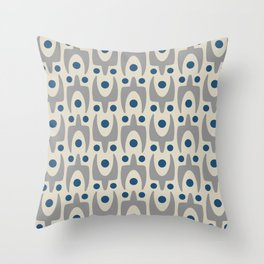 Mid Century Modern Abstract Pattern 149 Gray and Blue Throw Pillow