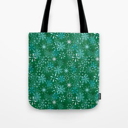 Snowflakes Falling Green Background, Christmas and Holiday Fantasy Collection Tote Bag