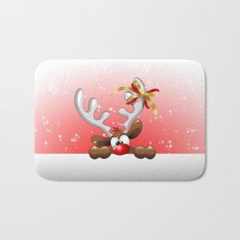 Funny Christmas Reindeer Cartoon Bath Mat