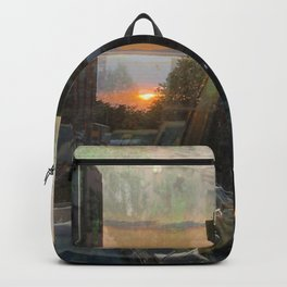 Double Exposure sunset in Park Slope Brooklyn Backpack