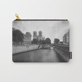 Notre Dame and the Seine River, Black and White Carry-All Pouch