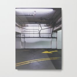 parking lot with the yellow arrow and tubes Metal Print