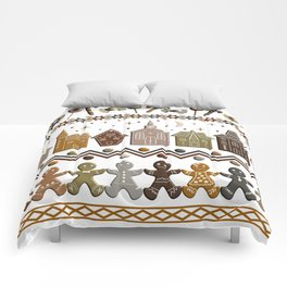 Gingerbread Row Dance in Snow White Comforters