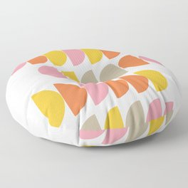 Cute Geometric Shapes Pattern in Pink Orange and Yellow Floor Pillow