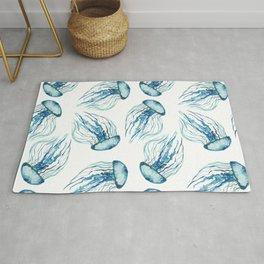 Watercolor Aqua Jellyfish Rug