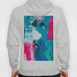 Look on the bright side | neon pink blue brushstrokes abstract acrylic painting Hoody