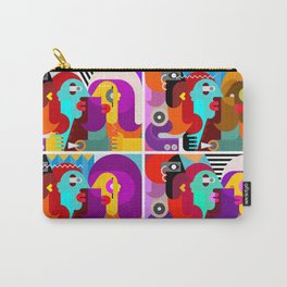 Abstract art portrait of three people Carry-All Pouch