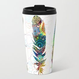 mandala colorful feathers Travel Mug