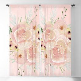 Wild Roses on Seashell Pink Watercolor Blackout Curtain