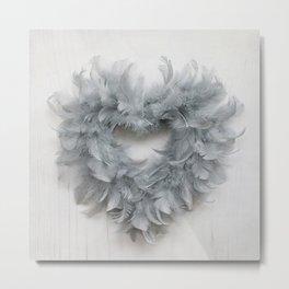 Grey Feather Heart Metal Print