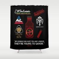true blood Shower Curtains featuring True Blood Logos by CLM Design