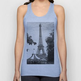 Paris in Black and White, Eiffel Tower Unisex Tank Top