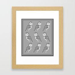 Grey and White Barn Owls Pattern Framed Art Print